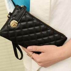 Vintage Women Clutch PU Leather Handbag Black – intl