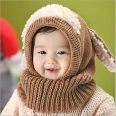 Winter Beanie Baby Kids Boy Girl Warm Hat Hooded Scarf Earflap Knitted Wool Cap Khaki
