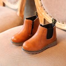 Mùa đông Trẻ Em trẻ em Giày Bốt Martin Tuyết Giày Cho Bé Tập Đi Cho Bé Trai Bé Gái Giày Màu Nâu-quốc tế
