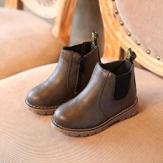 Mùa đông Trẻ Em trẻ em Giày Bốt Martin Tuyết Giày Cho Bé Tập Đi Cho Bé Trai Bé Gái giày Xám-quốc tế