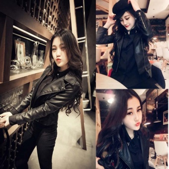 Woman Pu Motorcycle Leather Lady Short Jacket Small Leather Jacket Tide - intl