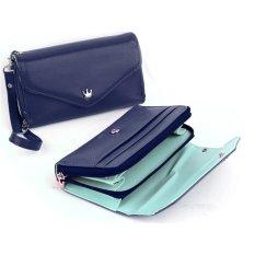 Women Clutch Bag Cell Phone Pockets Coins Case Purse Blue
