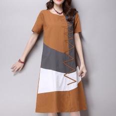 Phụ nữ Cotton Linen Vintage Retro Chia Phong Cách Plus Kích Thước tay Ngắn Cổ Tròn Rộng In Hình Đầm Vestidos-quốc tế