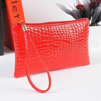 Women Crocodile Leather Clutch Handbag Bag Coin Purse - intl
