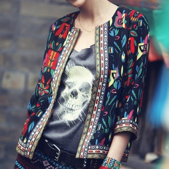 Women Ethnic Floral Print Embroidered Jacket Slim Coat Black - intl