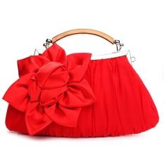 Women Lady Flower Shoulder Bag Chain Handbag Satin Wedding Evening Party Clutch – intl