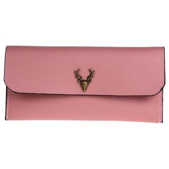 Women Long Wallet PU Leather Deer Heads Coin Clutch (Watermelom red) - intl