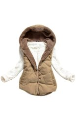 Cửa hàng bán Women Plus Size Slim Jacket Hoodie Vest Coat Waistcoat (Brown) – intl
