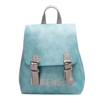 Women PU Leather Letter Embroidery Backpack Preppy Chic School Bag(Blue) - intl