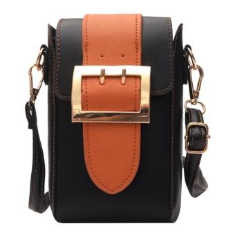 Women PU Leather Mini Messenger Cell Phone Shoulder Crossbody Bag(Brown) - intl