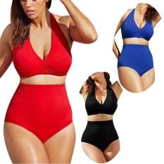 Phụ nữ Dây Có Đệm Bandeau Cao Cấp Đồ Bơi Bikini Đồ Bơi Plus Kích Thước Đen-quốc tế