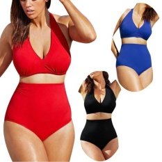 Phụ nữ Dây Có Đệm Bandeau Cao Cấp Đồ Bơi Bikini Đồ Bơi Plus Kích Thước-Đỏ-quốc tế