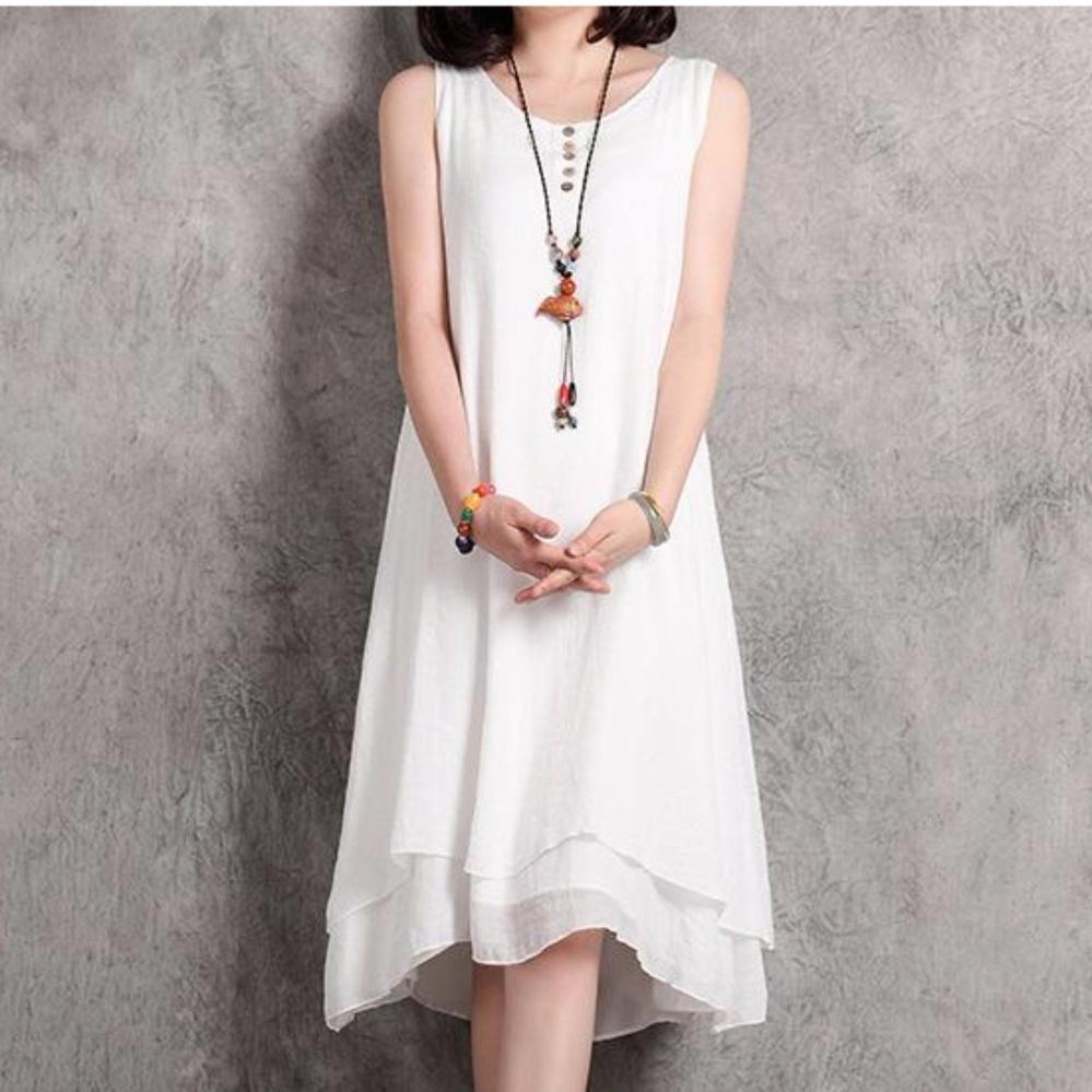 Phụ nữ Không Tay Dài Đầm Vải Bông-Đầm Maxi Dài Đầm-quốc tế