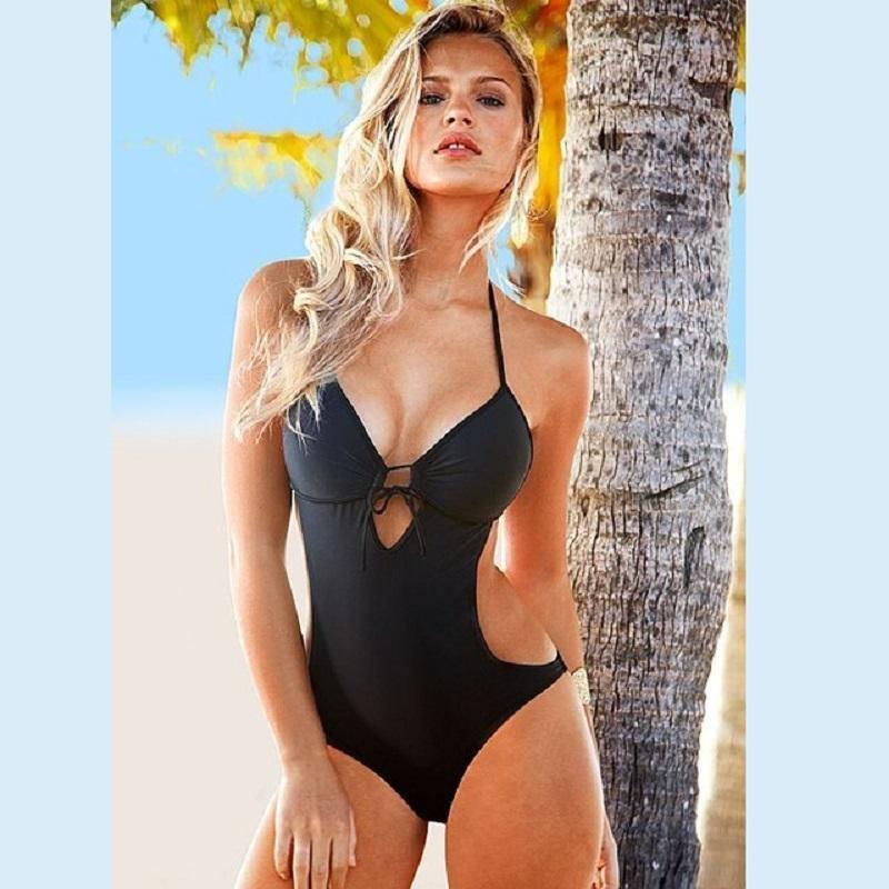 Nơi bán Women Summer Beach Wear Bathing Suit Bandage Backless Halter Swimsuit One Piece Swimsuit Sexy Pure color Swimwear(Black) - intl