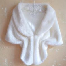 Veli áo khoác choàng nữ mới sang trọng, áo khoác choàng nhúng vai cô dâu Faux Fur màu trắng – INTL
