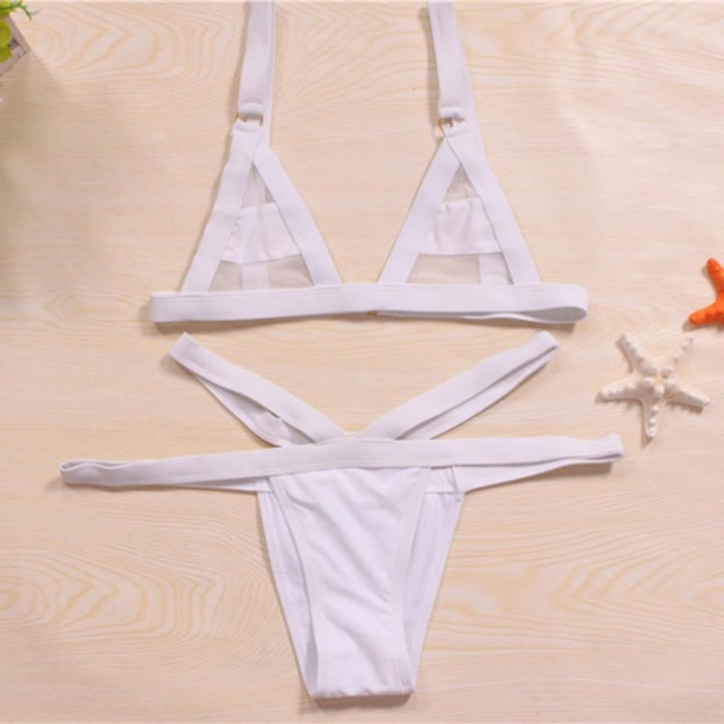 Nơi bán Womens Mesh Bikini Set Hollow Out Tops Bandage Swimsuit Strappy Swimwear Mini String Thong White - intl