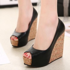 Phụ nữ Hở Mũi Nêm Giày Sandal Giải Trí Cao cấp-quốc tế
