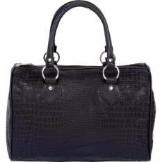 Túi đeo nữ Women's Genuine Black Crocodile Embossed Leather Shoulder Handbag by Embassy