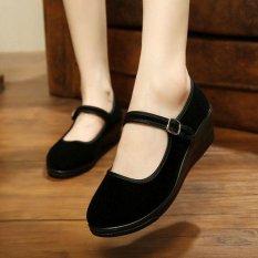 Giày Nữ Giữa Nêm Gót Mary Jane Khách Sạn Làm Dây Đeo Giày Múa Ba Lê Cotton Phẳng ĐEN-quốc tế