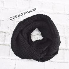Xả hàng khăn len ống Hàn quốc vặn thừng (Đen)