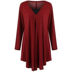 XL-5XL Plus Size Women Tops Shirt Solid Casual Blouses O-Neck Loose Style Faux 2 PCS Set Irregular Long Sleeves – intl