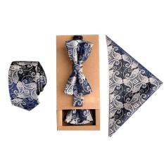 YBC Nam Thời Trang Phối Bộ Lụa Polyester Cà Vạt + Khăn Tay + Dây Thắt Nơ-quốc tế