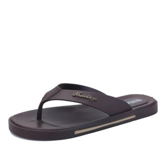 YINGLUNQISHI 2017 New Men flip flops Beach sandals flip sandals andslipper (brown) - intl