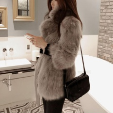 Zaful Woman Elegant Faux Fur Lapel Coat Women Fluffy Warm Long Sleeve Female Outerwear Chic Autumn Winter Coat Jacket Hairy Belt Overcoat – intl