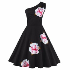 Zaful Nữ Vintage Thanh Lịch Váy Đầm Hoa Gợi Cảm Chéo 1 Vai Dễ Thương (Màu Đen)-quốc tế