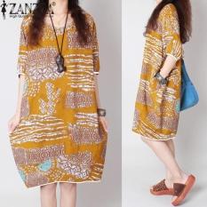 ZANZEA Nữ Mùa Hè Cổ Tròn Ngắn tay In Hoa Ngắn Nữ Thun Baggy Rời Dài Đầm Vestido Plus Kích Thước (vàng) -quốc tế