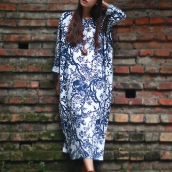 ZANZEA Women's Long Sleeve Loose Casual Floral Print Plus Long Maxi Dress Kaftan (White) - intl - 2