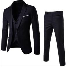 ZH nam ba bộ kinh doanh phù hợp với kinh doanh phù hợp với chuyên nghiệp bộ đồ đầm chú rể chú rể (3 cái) màu đen-quốc tế