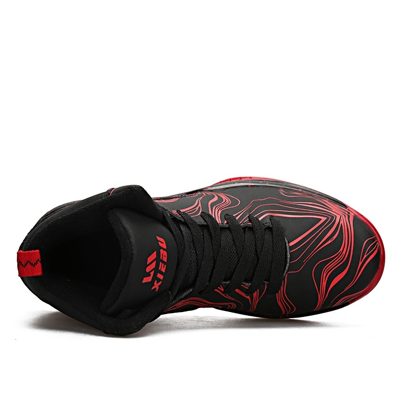 ZUUCEE Men Fashion Outdoor Sports Basketball Shoes Lovers Running High-top(red black)【Free Shipping】