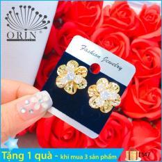 Bông tai thời trang nữ, bông tai hoa xoáy đính đá thiết kế thời trang Orin T547