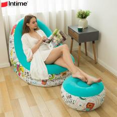 [GHẾ HƠI INTIME HỌA TIẾT] Ghế hơi tựa lưng INTIMES chính hãng kèm đôn, họa tiết và màu sắc trẻ trung – Bơm điện 2 chiều