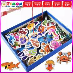 Bộ Đồ Chơi Câu Cá Nam Châm Gỗ Cho Bé, đồ chơi giáo dục thông minh phát triển trí tuệ, đồ chơi MONTESSORI, đồ chơi an toàn – TIMONKIDS