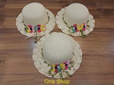 Mũ cói tiểu thư, Mũ cói đi biển cho bé gái ( Màu trắng) + Tặng 5 chun buộc tóc nhiều màu sắc