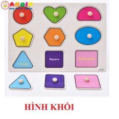 Đồ chơi bảng ghép gỗ có núm to 20×30 cm – chủ đề hình khối