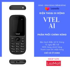 Điện thoại di động GSM Vtel A1 (2 Sim, Màu Đen) bàn phím ấn êm tay, Giao diện đơn giản, Có chức năng FM loa ngoài, Camera sau, Pin bền, Thiết kế thời trang, Dễ sử dụng, Vừa túi tiền, 2 SIM 2 sóng – Bảo hành 12 tháng