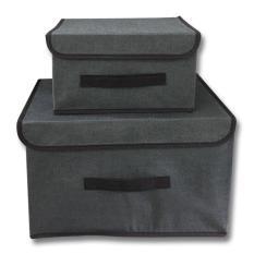 Bộ 2 tủ vải , hộp đựng đồ , hộp chứa ngăn , tủ lót khung cứng đựng đồ, vải không dệt, có nắp, chống bụi chống thấm , có tay xách