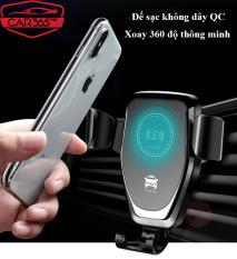 Đế sạc không dây trên ô tô xe hơi kiêm Giá Đỡ Điện Thoại Chuẩn QI Khả Năng Xoay 360 Độ Thông Minh – CAR10