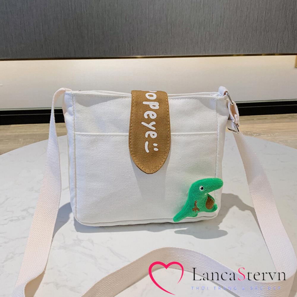 Túi Đeo Chéo Nữ Vải Canvas Đi Học Đi Chơi Có Đai Khóa Bấm Phong Cách LC5660