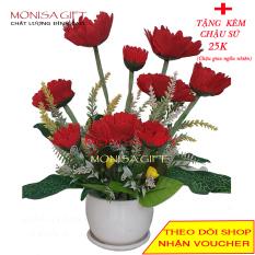 [RẺ VÔ ĐỊCH] Chậu Hoa Đồng Tiền Lụa Cao Cấp Monisa Gift {TẶNG Chậu Sứ 25K}- Hoa Giả Đẹp Cho không gian nhà, Hoa Giả cao cấp – Bình hoa lụa để bàn làm việc, để bàn phòng khách- Cành lá giả nhân tạo