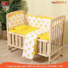 Cũi trẻ em (Tặng: đệm cũi giá 400k + bộ quây cũi 5 chi tiết 350k). Cũi gỗ, giường cũi rẻ em, cũi 2 tầng, HONA SMART