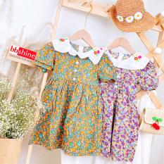 [HCM]Váy hoa nhí cho bé Đầm xòe cho bé gái 1-7 tuổi tay phồng họa tiết đủ màu sắc tươi tắn phối cổ thêu hoa đáng yêu BBShine – D064