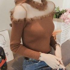 Áo len nữ dệt kim cổ phối ren lưới gợi cảm, áo len trễ vai thời trang cao cấp
