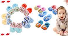 Combo 10 Đôi Giày Vải Sọc đính thú Giữ Ấm Cho Bé Trai 2 – 12 tháng