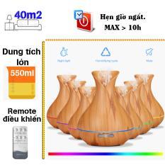 Máy khuếch tán tinh dầu bình hoa dung tích 400ml phun 8 tiếng lộc không khí, tạo ẩm tặng 10ml tinh dầu tràm Ngọc Tuyết