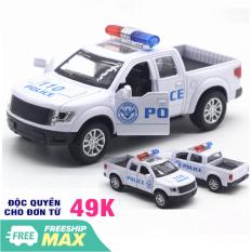 Đồ chơi trẻ em Xe ô tô cảnh sát mini chạy cót mô hình tỉ lệ 1:32 xe bằng sắt có âm thanh và đèn mở cửa xe