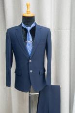 Bộ vest nam form suông màu xanh đen tặng kèm combo phụ kiện